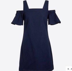 J crew navy blue off the shoulder dress